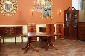 Double Pedestal Dining Room Tables Inlaid Double Pedestal Mahogany Dining Table Seats People Of Also