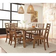 7 piece solid wood rectangular dining table set by signature