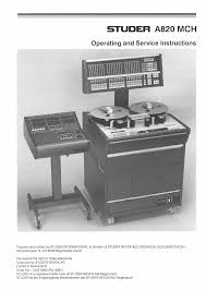 studer a820 mch operating service instructions service manual