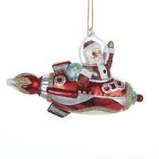buy santa in rocket spaceship space age glass ornament