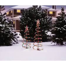 holiday time 3 u0027 and 4 u0027 lighted spiral christmas tree sculptures