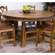 Sunny Designs Sedona Adjustable Height Round Table W Lazy Susan - Adjustable height kitchen table