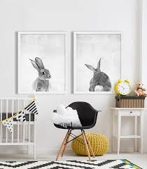 rabbit nursery baby animal nursery modern nursery prints nursery