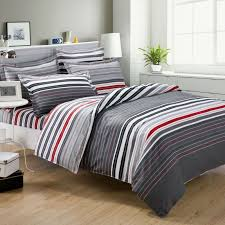 Buy Cheap Comforter Sets Online Grey And Red Stripes Printing 4pc Bedding Set Queen Bed Duvet