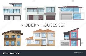 modern houses set real estate signs stock vector 445164127