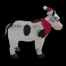 home accents 36 in pre lit cow with santa hat ty294 1311