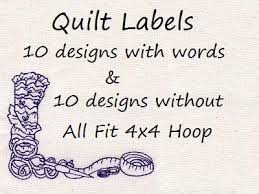 machine embroidery designs quilt labels set
