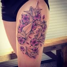 Flower And Bird Tattoo - 65 origami bird tattoos nenuno creative