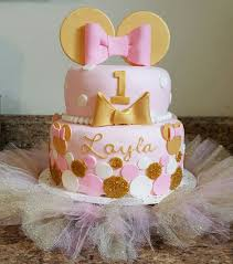 minnie mouse pink and gold 1st birthday cake i made the cake is a