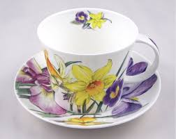 english bone china breakfast cup and saucer spring flowers roy