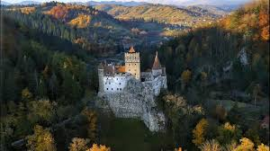 bran castle in autumn aerial video youtube