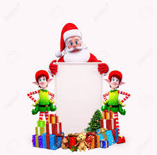 santa with christmas tree and elves with sign stock photo picture