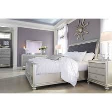Ashley Furniture Upholstered Bed California King Bed With Upholstered Sleigh Headboard And Silver