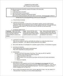 free lesson plan format free downloadable lesson plan format
