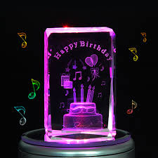 Engravable Music Box Engraved Music Box Crystal Birthday Cake Colorful 3d Rotating