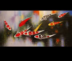 abstract art wall art decor koi fish painting japanese koi