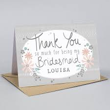 thank you bridesmaid cards thank you for being my bridesmaid card by tandem green