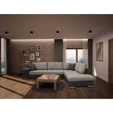 canapé d angle tissu beige canapé d angle gauche en tissu beige et marron avec 4 grands coussins