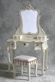 Mirrored Vanity Set Antique White Woodenn Make Up Table With Triple White Wooden