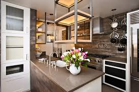 kitchen island with hanging pot rack caesarstone countertops kitchen contemporary with contemporary
