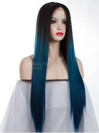 Blue Ash Color by Black Ombre Blue Long Synthetic Lace Front Wig Sny080 Home