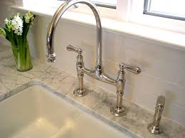 polished nickel kitchen faucets gooseneck bridge faucet traditional kitchen summer thornton