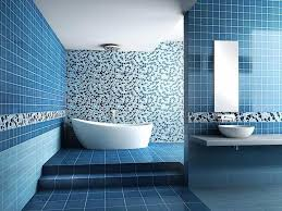 blue tile bathroom ideas small bathroom using large tiles combined with light this