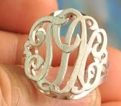 monogram rings sterling silver silver monogrammed rings lions roar