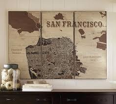 san francisco map framed san francisco triptych wood pottery barn