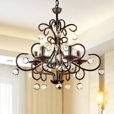 Metal Chandelier Antique Bronze 6 Light Crystal And Iron Chandelier Free Shipping
