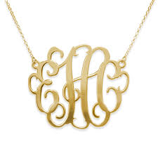 plated statement monogram necklace