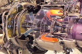 Turbine Engine Mechanic Model Of Gas Turbine Engine Planes In The Section Stock Photo