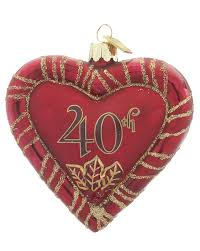 anniversary ornament 40th anniversary heart personalized ornament
