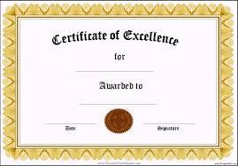 excellence certificate templates templatezet