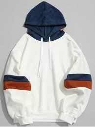 pockets color block hoodie white hoodies u0026 sweatshirts l zaful