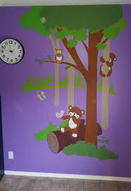 26 best murals for kids images on pinterest wall murals kids tina carlson painted our teddy s wooded wonderland p 2 on a bright lavender background and