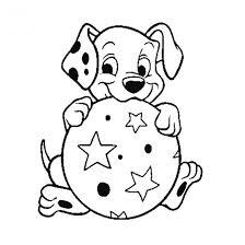 Coloriage Chien joue au ballon dessin gratuit à imprimer