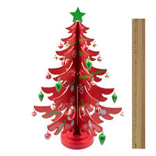 mini tabletop wooden tree with decorations 14 inches