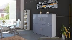 Schlafzimmerschrank Grau Highboard Grau Hochglanz
