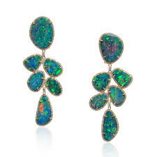 green opal earrings intense boulder opal earrings with green garnets and diamonds 6870