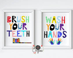 Fun Kids Bathroom - printable kids art etsy