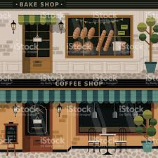 Coffee Shop Floor Plans Coffee Shop And Bakery Facades Stock Vector Art 482841794 Istock