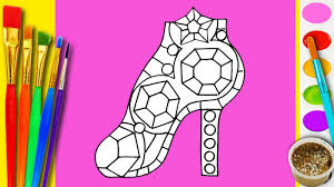 learn to draw and color a diamond barbie shoes coloring page for