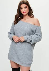 plus size grey the shoulder sweater dress missguided