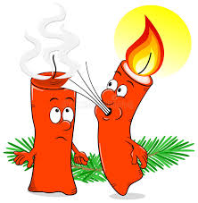 cartoon of a christmas candle that blows out another candle stock