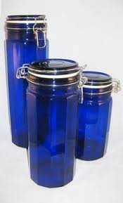 cobalt blue kitchen canisters cobalt blue glass side cl canisters set by aglimpsefromthepast