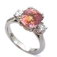 padparadscha sapphire engagement ring platinum padparadscha sapphire and trilogy ring macrow