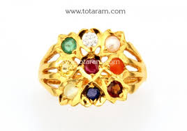 gold rings stones images 22k gold 9 stones men 39 s navrattan ring with diamond 235 gr3462 jpg