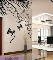 001h a b vine small size black butterfly flower vine wall stickers