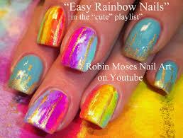robin moses nail art spring coral color blocking lace and